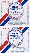 Lot of TWO WISCONSIN Pabst RED WHITE & BLUE BEER Labels Tavern Trove