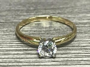 14K Yellow Gold Sparkle Clear Round Stone Ring