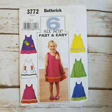 Butterick 3772 Fast Easy Sewing Pattern Toddler Girls Dress Size 1 2 3