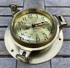 Vintage Solid Brass Heavy Marine Ship's Time Clock Maritime