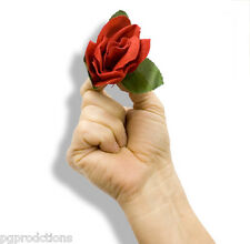 LIT MATCH TO CLOTH RED ROSE Appearing Flower Magic Trick Fire Magician SALE Prop