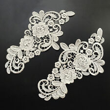 Lace Flower DIY Embroidered Sew Iron on Patch Badge Bag Dress Applique 2pcs/Set