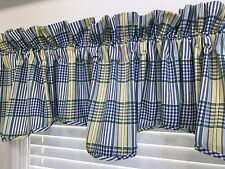 Waverly Home Classics VALLEY Scalloped Valance; Blue White Yellow Plaid (RF625)