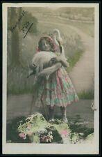 Child girl hold Flamingo Bird original old 1910s photo postcard