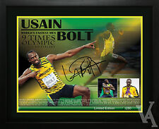 USAIN BOLT OLYMPIC CHAMPION GOLD MEDALIST LIMITED EDITION SIGNED MEMORABILIA