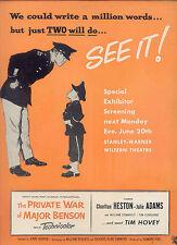 """1955 RARE CHARLTON HESTON """"THE PRIVATE WAR OF MAJOR BENSON"""" TIM HOVEY PR AD"""