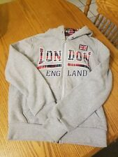 G CROWN Gray and Plaid London England Full Zip Hoodie Sweatshirt Jacket Sz Yth M