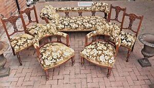 Victorian 7 piece Salon Lounge Suit Chaise Longue x2 Armchairs x4 Side Chairs