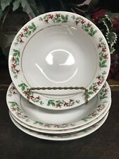 4 Gibson Housewares Christmas Holly Dishes, Soup Bowls
