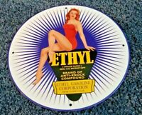 VINTAGE ETHYL GASOLINE PORCELAIN GAS & OIL SERVICE STATION PUMP PLATE SIGN
