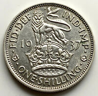 1937 ONE SHILLING - GEORGE VI BRITISH SILVER COIN - HIGH GRADE