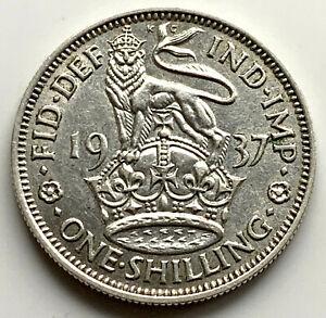 1937 ONE SHILLING - GEORGE VI BRITISH SILVER COIN - HIGH GRADE