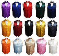 Men's Satin Waistcoat Vest + Matching Bow tie 2 Pcs Set For Suit Wedding