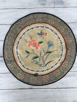 """Vintage Chinese Asian Round Embroidered Floral Fabric Doily 10.25"""" Diameter"""