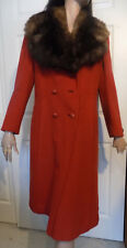 Vintage Brick Red Wool Coat Large Fur Collar Double Breasted B44
