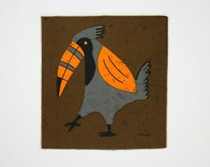Vintage 1960s / 1970s Brown, Orange & Grey Tropical Toucan Fabric Wall Hanging