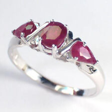 Solid 14k Wite Gold Three Stone Ruby Ring 1.55ct.