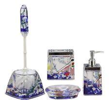 Nautical Blue Coastal Reefs And Shells Accessories Bathroom Vanity Gift Set 5Pc