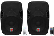 "(2) Rockville BPA12 12"" Professional Powered 600 Watt DJ PA Speakers w Bluetooth"