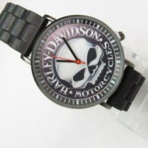 Harley Davidson Case Size Width 38mm Waterproof Rubber Belt Men's Watch Unused !