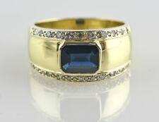 Saphir Diamantring 585 14K Gelbgold 22 Brillanten insgesamt 0,20 ct