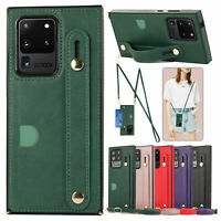 Crossbody Leather Case Cover Wallet For Samsung Galaxy Note 20 Ultra S20 S10 S9