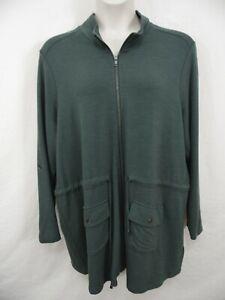 CYNTHIA ROWLEY 22W 24W (3X) Olive Green Full Zip Casual Jacket Sweatshirt NWT