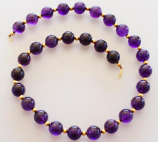 "Amethyst Necklace 16"" Beads w/ 14kt Gold Filled Clasp & Beads --  8mm"