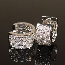 White Gold Filled Earrings made with Swarovski Crystal Men Ladies sold 720 E403