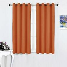 Microfiber Home Thermal Insulated Solid Ring Top Blackout Curtains 2 Set Orange