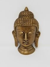 """NEW Buddha Solid Brass Mask / Wall Hanging 5.5""""H - Solid Brass"""