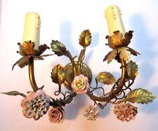 Applique double en laiton, 2 tiges de rosier et 5 roses porcelaine, Napoléon III