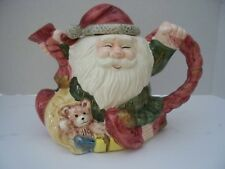 Christmas Santa & Toys Teapot Coffe Ceramic Hand Painted Holiday Larger