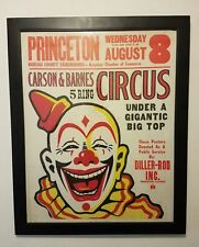 "CIRCUS CLOWN - 22"" x 28"" Framed Poster - PRINCETON ILLINOIS - VINTAGE ART"
