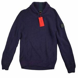 Hugo Boss Mens Afairbus Rib-Knit Shawl Collar Sweater Purple M