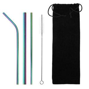 4pcs Stainless Steel Metal Drinking Straw Reusable Straws + Cleaner Brush Kit