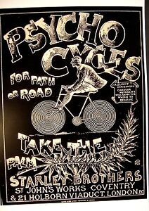 Late 1800's Bicycle AD Poster  Psycho Cycles For Path or Road  Starley Brothers