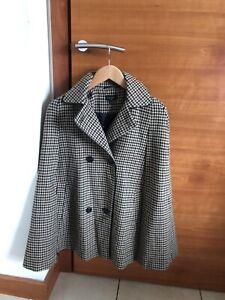 Topshop Cape Coat / Jacket Heritage Brown Houndstooth Size XS