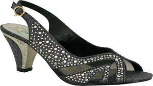 Ladies New Smart Pin Buckle Block Heel Peep Toe Slip On Evening/Party Sandal