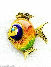 18K Yellow Gold Enamel Fish Pin Brooch ITALY