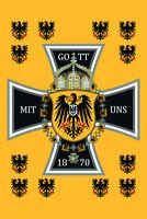 Dieu avec Nous Deutsche Empire 1870 Panneau Métallique Plaque Étain Signer 20 X
