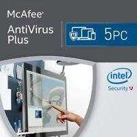 McAfee AntiVirus Plus 2018 5 Device / 1 Year Antivirus License