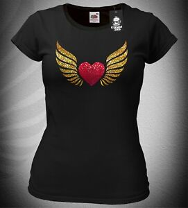 Ladies Slim-Fit Heart With Angel Wings T-Shirt Top Sparkly Glittery Biker