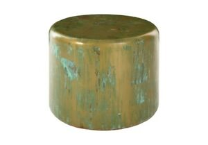 """24"""" Dia. Set of 2 End Table Lichen Finished Resin Fiberglass Rounded Edges 1289"""