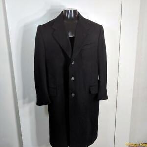 HALSTON ITALY Long Wool CASHMERE Coat Overcoat Mens Size L Black