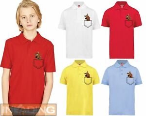Scooby Doo Character Face Fitted Brown Pocket Polo T-shirt Gift Kids Ideal Top
