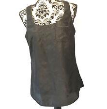 Gap Womens Embellished Career Tank Top Sz M Sleeveless Black Gold Pocket Shirt
