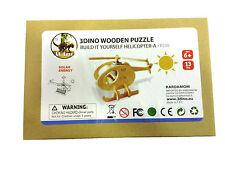 ELICOTTERO con pannello solare puzzle legno naturale anni 6+ verniciabile