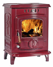 7KW Lilyking 627 Red Enamel Multi Fuel Boiler Stove with 3 Year Warranty