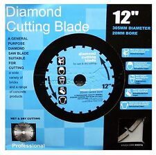 "NEW 12"" 305 MM 20 MM BORE WET & DRY UNIVERSAL DIAMOND CUTTING DISC GRINDER"